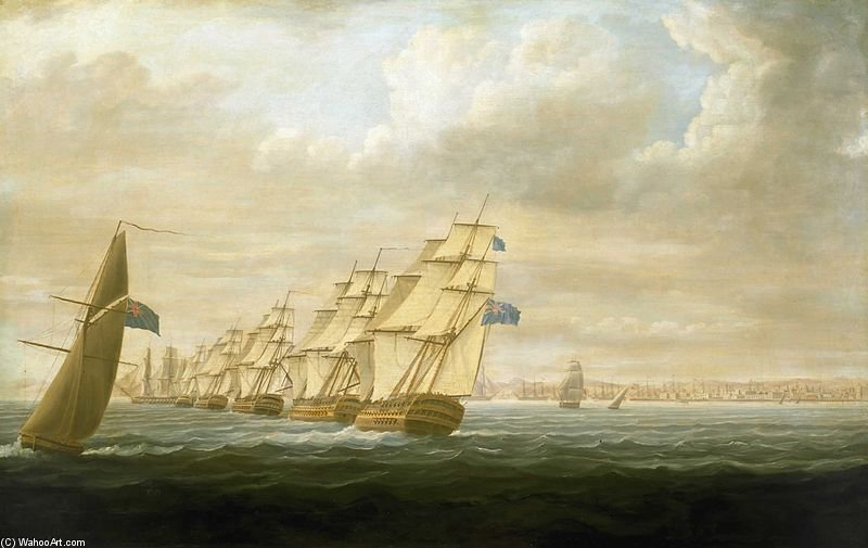 Nelson's Squadron At Cadiz by Thomas Buttersworth (1768-1842, United Kingdom)