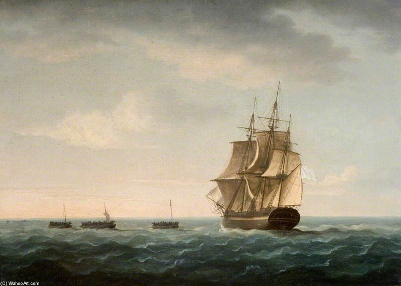 Rescue Of The 'guardian's' Crew By A French Merchant Ship by Thomas Buttersworth (1768-1842, United Kingdom)