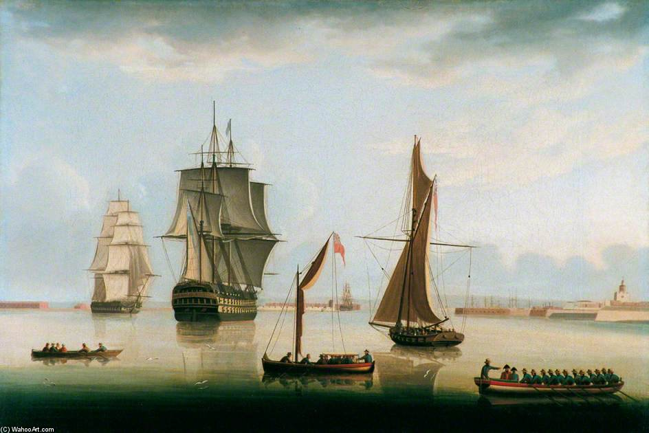 Shipping In Portsmouth Harbour by Thomas Buttersworth (1768-1842, United Kingdom) | Oil Painting | ArtsDot.com