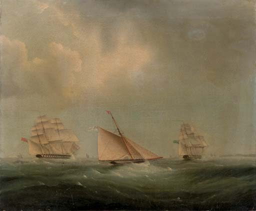 Shipping In The Channel by Thomas Buttersworth (1768-1842, United Kingdom)