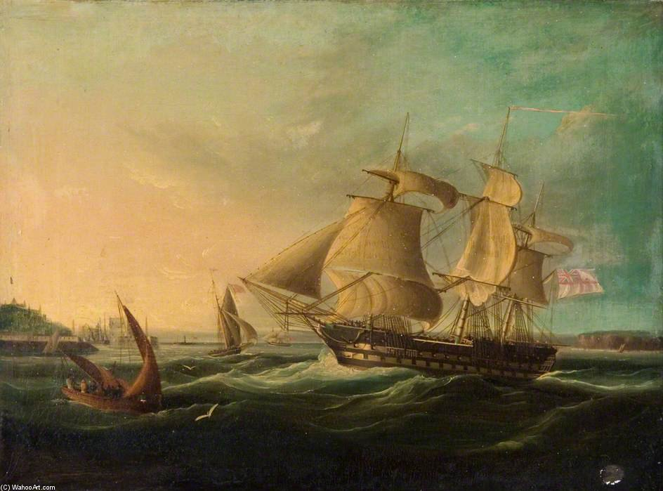 Shipping Off The Coast by Thomas Buttersworth (1768-1842, United Kingdom)