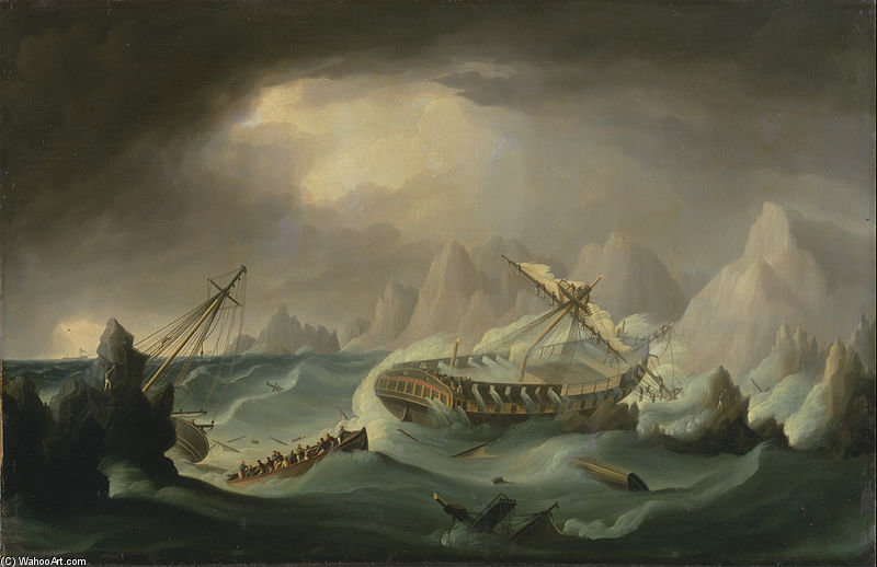 Shipwreck Off A Rocky Coast by Thomas Buttersworth (1768-1842, United Kingdom)
