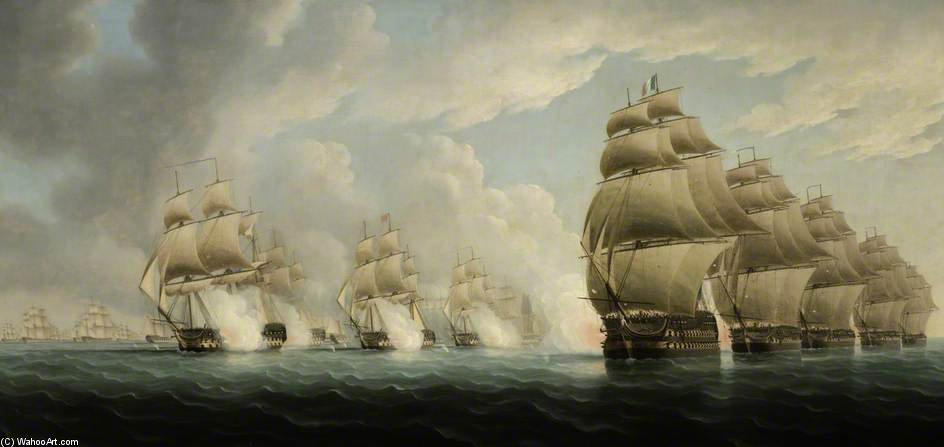 The Action Off Pulo Aor by Thomas Buttersworth (1768-1842, United Kingdom)