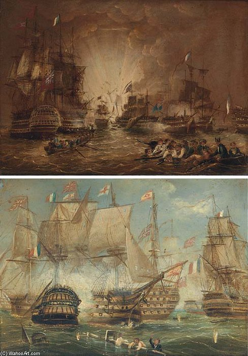 The Battle Of The Nile, And The Battle Of Trafalgar by Thomas Buttersworth (1768-1842, United Kingdom)