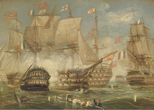 The Battle Of Trafalgar - by Thomas Buttersworth  (order Fine Art fine art print Thomas Buttersworth)