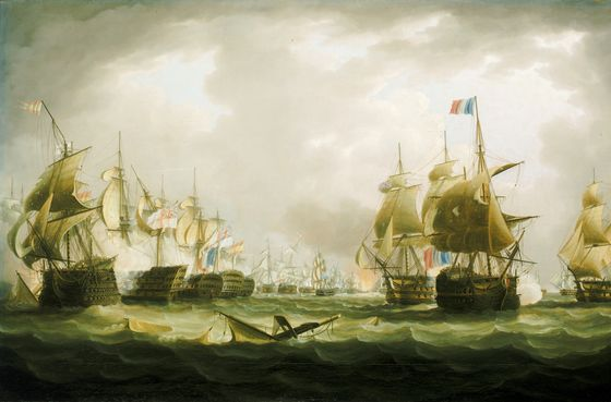 The Battle Of Trafalgar, Beginning Of The Action - by Thomas Buttersworth (1768-1842, United Kingdom)