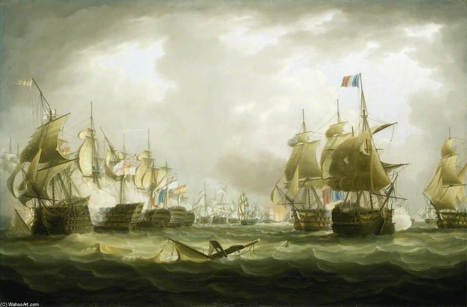 The Battle Of Trafalgar, Beginning Of The Action by Thomas Buttersworth (1768-1842, United Kingdom)