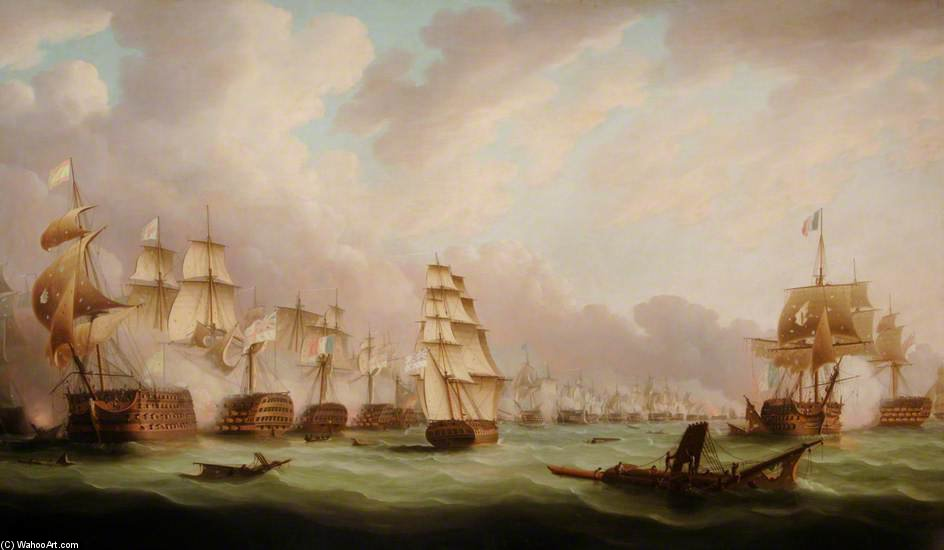 The Battle Of Trafalgar by Thomas Buttersworth (1768-1842, United Kingdom)