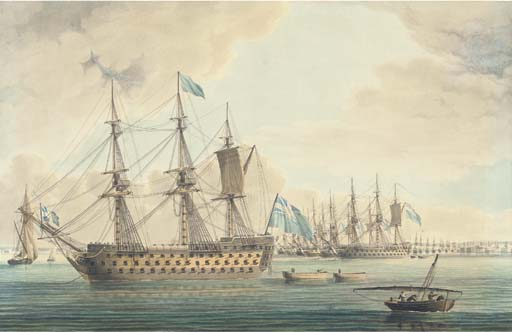 The Blockading Fleet Off Cadiz In With Lord St Vincent's Flagship Ville De Paris Anchored In The Foreground, 1797 by Thomas Buttersworth (1768-1842, United Kingdom)