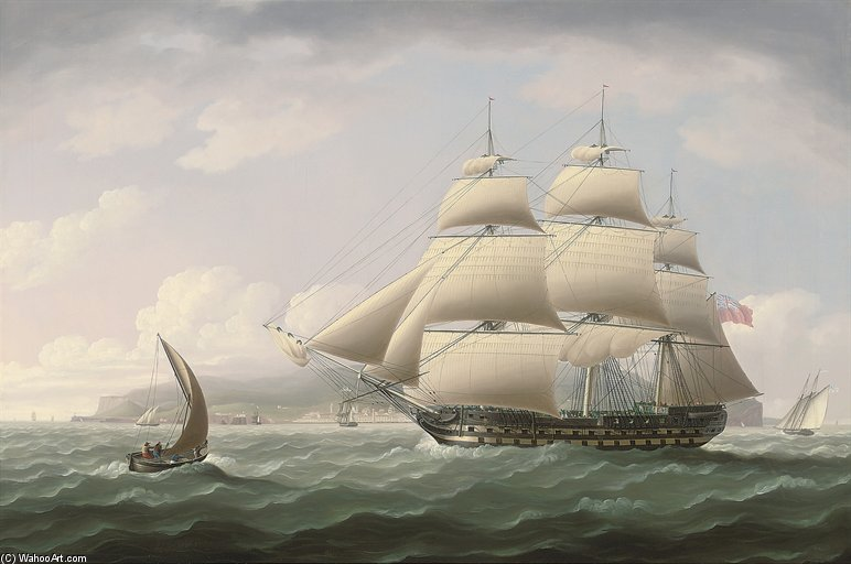 The Honourable East India Company's Ship Dunira Passing Funchal Bay On The Island Of Madeira by Thomas Buttersworth (1768-1842, United Kingdom)