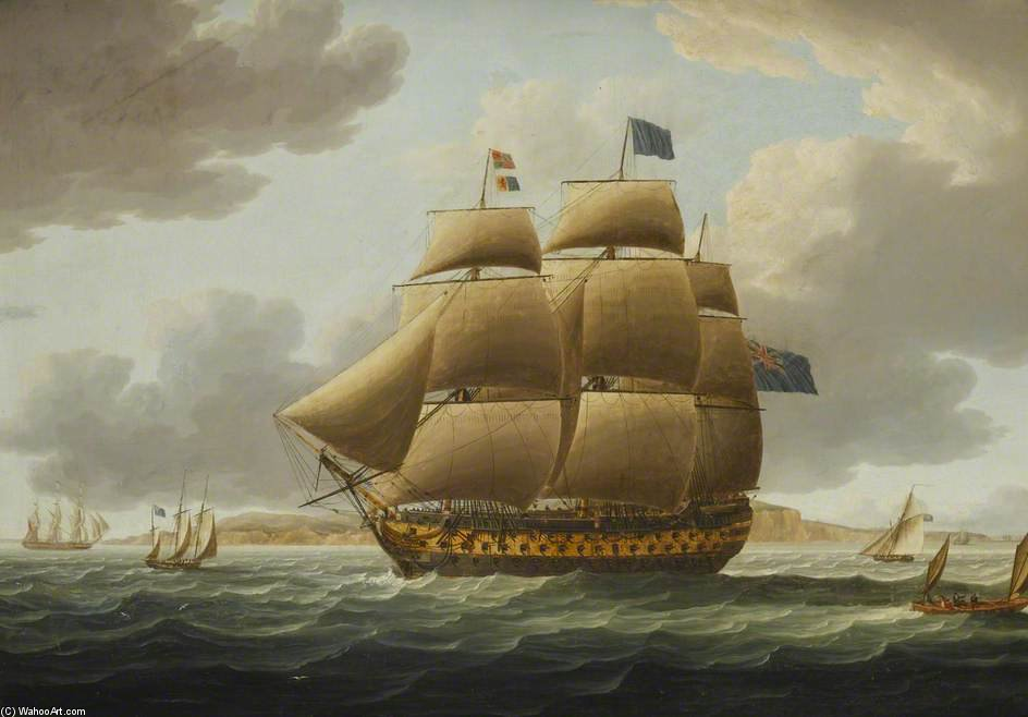 The Ship 'ville De Paris' Under Full Sail by Thomas Buttersworth (1768-1842, United Kingdom)