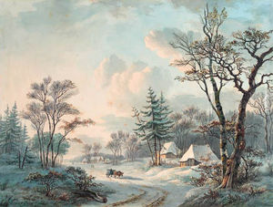 Willem De Klerk - A Winter Landscape With An Ox-cart On A Wooded Road Near A Village