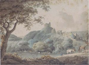 William Payne - Horses Grazing In A Rural Landscape With Castle Ruins Beyond