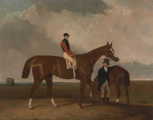 Abraham Cooper - -Elis- at Doncaster, Ridden by John Day, with his Van in the Background