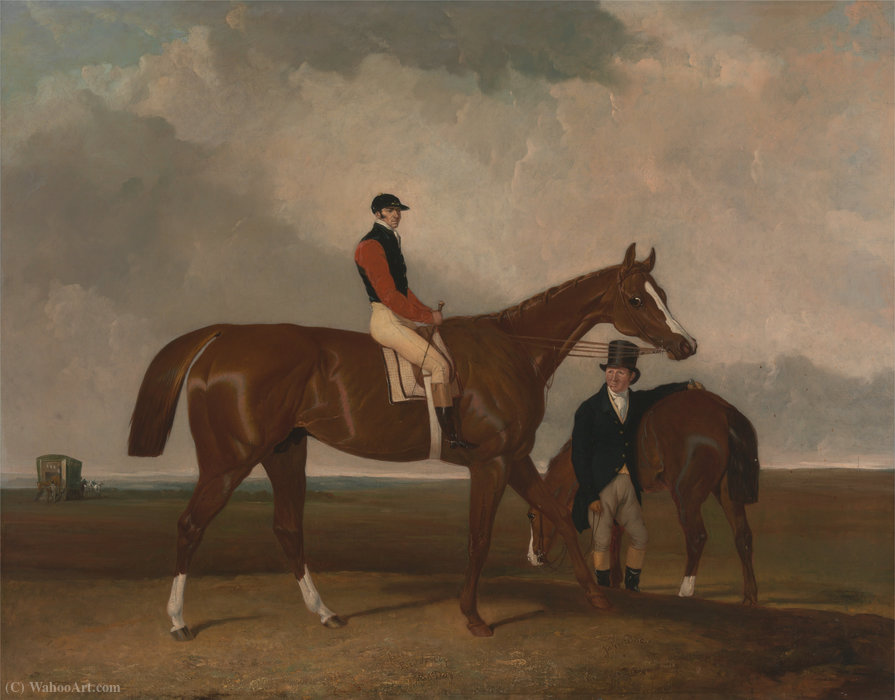 'Elis' at Doncaster, Ridden by John Day, with his Van in the Background by Abraham Cooper (1787-1868, United Kingdom)