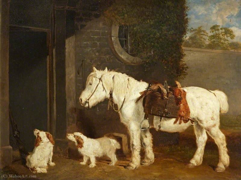 'Scrub', a Shooting Pony Aged 30, and Two Clumber Spaniels by Abraham Cooper (1787-1868, United Kingdom)