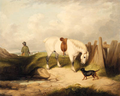 A Gamekeeper With A Grey Pony And A Dog In A Landscape by Abraham Cooper (1787-1868, United Kingdom)