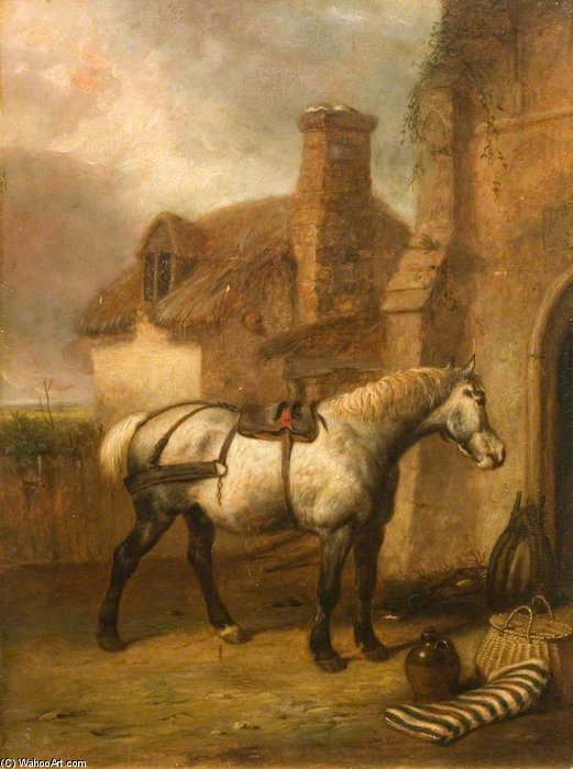 A Grey Horse At A Stable Door by Abraham Cooper (1787-1868, United Kingdom)