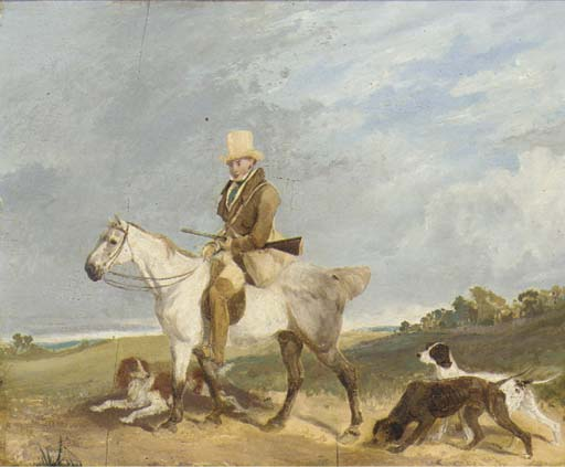 A Huntsman On His Pony With His Gundogs by Abraham Cooper (1787-1868, United Kingdom)