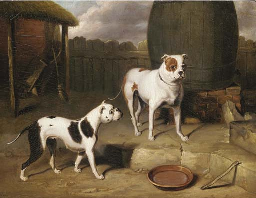 Crib And Rosa By A Barrel by Abraham Cooper (1787-1868, United Kingdom)