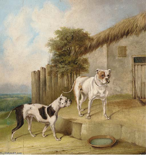 Crib And Rosa By An Outhouse by Abraham Cooper (1787-1868, United Kingdom)