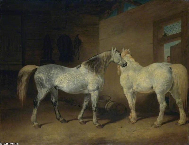 Draught Horses by Abraham Cooper (1787-1868, United Kingdom)