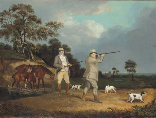 Gentleman Shooting Partridge, With Pointers In A Landscape by Abraham Cooper (1787-1868, United Kingdom)