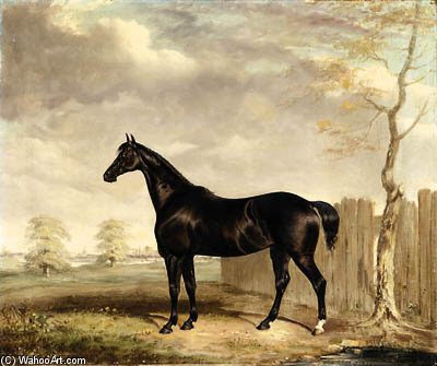 Gypsy, A Black Horse In A Landscape by Abraham Cooper (1787-1868, United Kingdom)