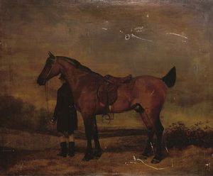 Abraham Cooper - Portrait Of A Hunter And Groom, In An Extensive Landscape
