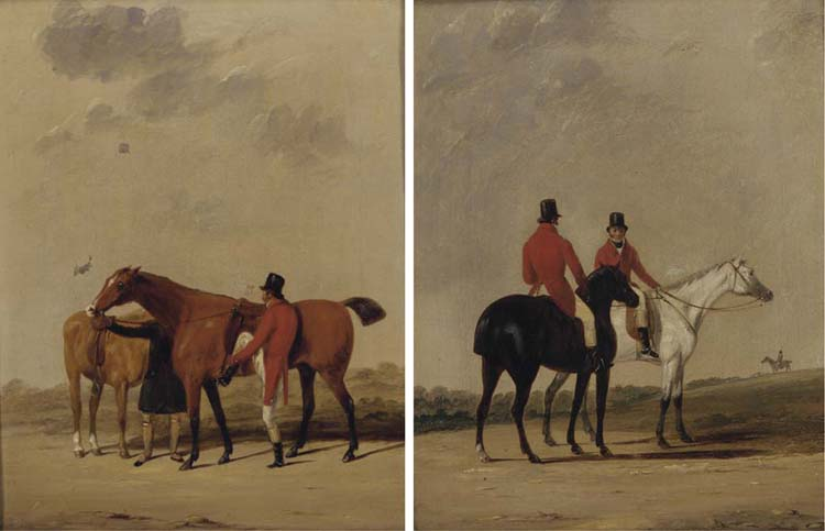 Saddling Up; And Before The Meet by Abraham Cooper (1787-1868, United Kingdom)