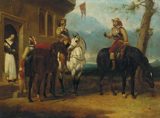 Two Mounted Cavaliers And Another Drinking Ale Outside An Inn by Abraham Cooper (1787-1868, United Kingdom)