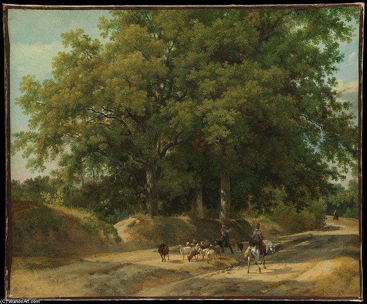 A Shepherd And A Rider On A Country Lane by Auguste Xavier Leprince (1799-1826, France)