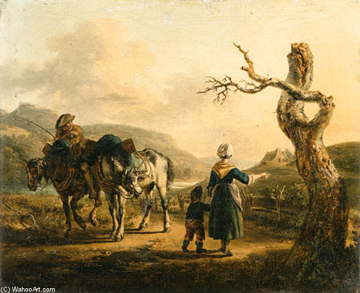 A Traveller On Horseback Conversing With A Mother And Child On A Path by Auguste Xavier Leprince (1799-1826, France)