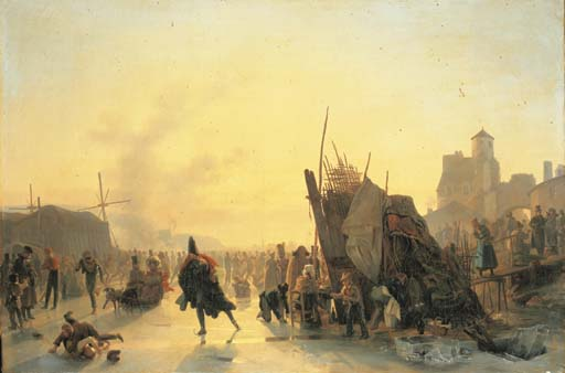 Skaters by Auguste Xavier Leprince (1799-1826, France)