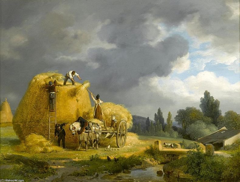 The Harvest by Auguste Xavier Leprince (1799-1826, France)