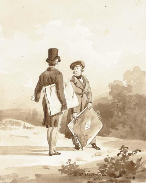 Two Artists In Discussing A Landscape by Auguste Xavier Leprince (1799-1826, France)