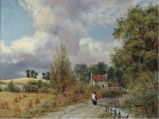 A Country Lane by Frederick Waters (William) Watts (1800-1870, United Kingdom)