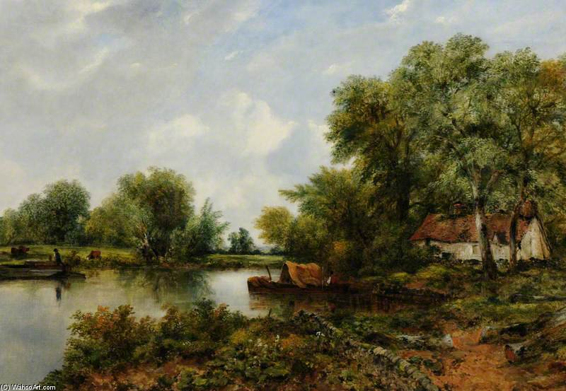 A Quiet Backwater In Suffolk by Frederick Waters Watts (1800-1870, United Kingdom)