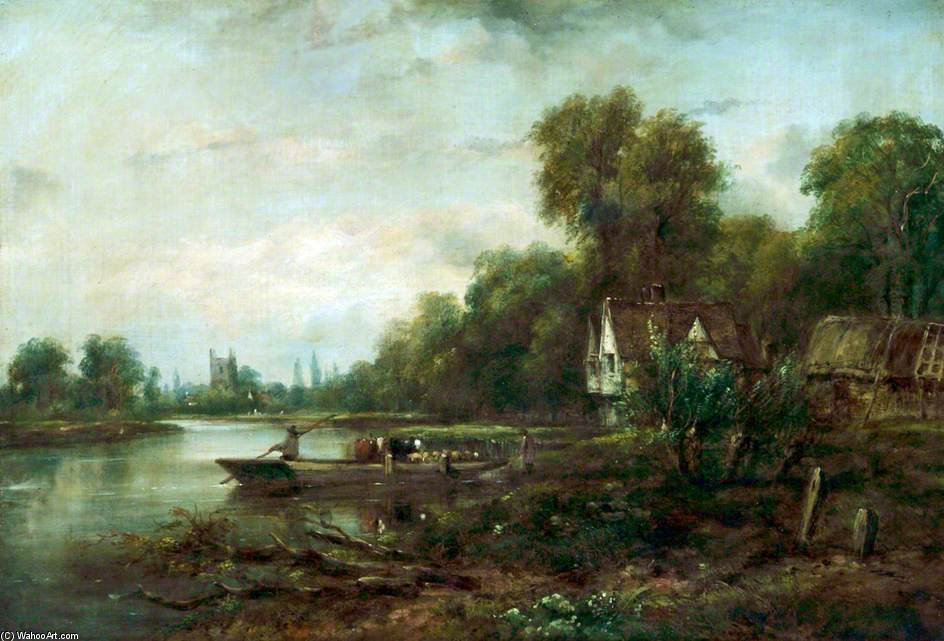 A Thames Ferry by Frederick Waters Watts (1800-1870, United Kingdom)
