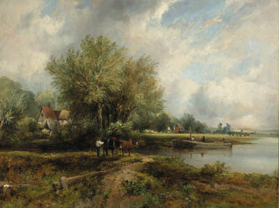 A Wooded River Landscape With A Barge And Cottages by Frederick Waters Watts (1800-1870, United Kingdom)