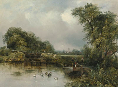 A Wooded River Landscape With A Barge By A Lock, A Village Beyond by Frederick Waters Watts (1800-1870, United Kingdom)