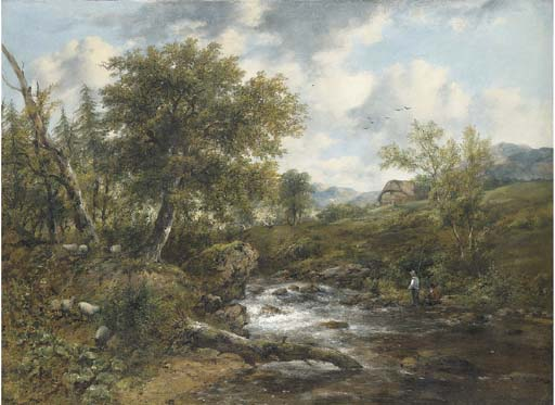 A Wooded River Landscape With Fishermen And Sheep On The Banks, A Cottage Beyond by Frederick Waters Watts (1800-1870, United Kingdom)