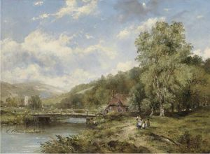 Frederick Waters (William) Watts - A Wooded River Landscape, With Figures On A Path By A Bridge, A Village Beyond