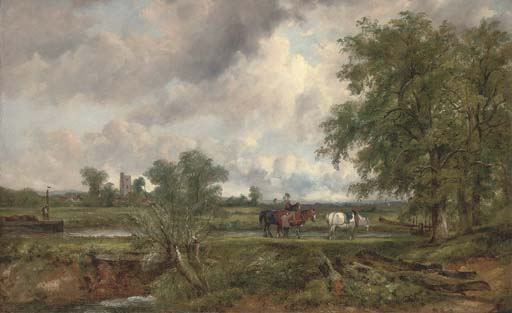 An Extensive Landscape With A Barge On A Canal And Yoked Horses On A Towpath, A Church And Village Beyond by Frederick Waters Watts (1800-1870, United Kingdom)