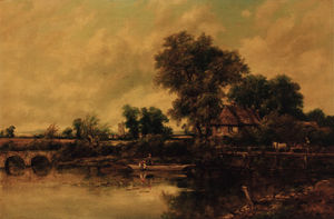 Frederick Waters (William) Watts - An Extensive Wooded River Landscape With Figures In A Punt And A Horse And Cart On A Bridge
