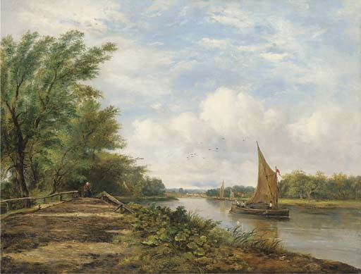 Barges On A River In A Sunlit Landscape by Frederick Waters (William) Watts (1800-1870, United Kingdom)