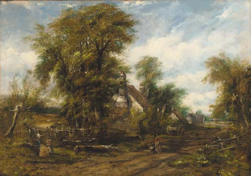 Figures Before A Cottage On A Wooded Path by Frederick Waters Watts (1800-1870, United Kingdom)