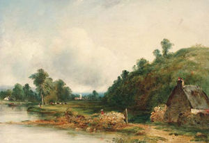 Frederick Waters (William) Watts - Figures By A River In A Wooded Landscape