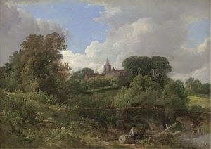 Frederick Waters (William) Watts - Figures Resting By A Bridge