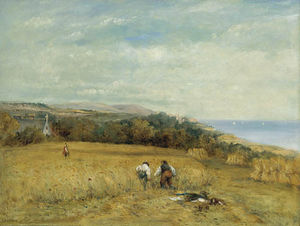 Frederick Waters Watts - Harvesters In A Cornfield On T..